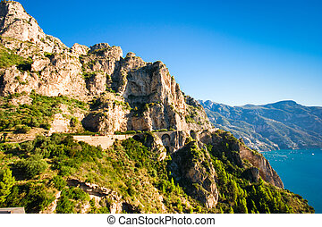 Amalfi Coast - Scenic view of cliffs and ocean along Italy...