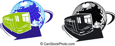 cartoon tourist bus silhouette Available EPS-8 vector format...