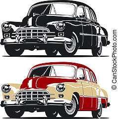 retro car. Available EPS-8 vector format separated by groups...