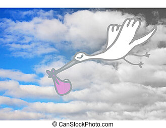 Its A Girl - Stork delivering a pink bundle - beautiful...
