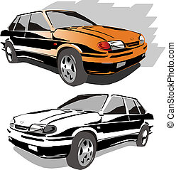 Car Available EPS-8 vector format separated by groups and...