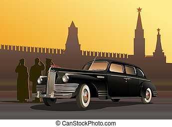 vintage limousine. Available EPS-10 vector format separated...