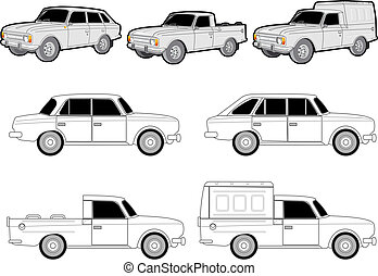 various car modifications set. Available EPS-8 vector format...