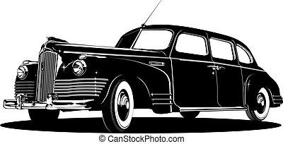 limousine silhouette - detailed vintage limousine...