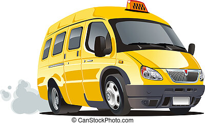 Cartoon van taxi - Cartoon taxi van isolated on white...