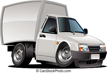 Cartoon delivery pickup - Cartoon pickup isolated on white...