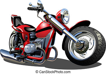 Cartoon Motorcycle - Vector Cartoon Motorcycle Available...