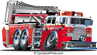 Cartoon Fire Truck - Vector Cartoon Fire Truck Lowroder...