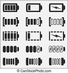 Battery Icons - Set of different indicators of a battery...