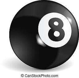 Billiard Ball - Billiard ball with number eight, vector...