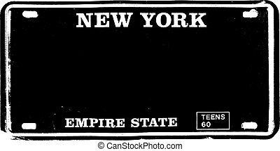 Old Style New York Metal Number Plate vector illustration