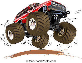 Cartoon Monster Truck - Vector Cartoon Monster Truck...