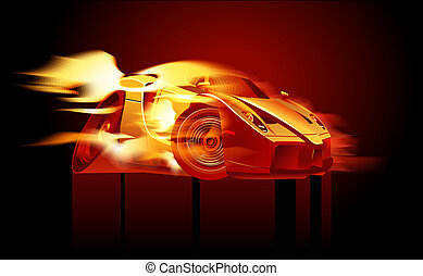 Cartoon sport car in flame