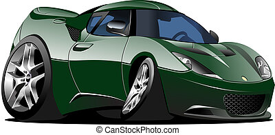 Cartoon sport car isolated on white background