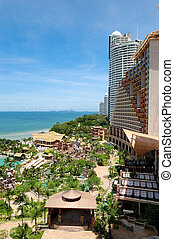 Beach of the modern luxury hotel, Pattaya, Thailand