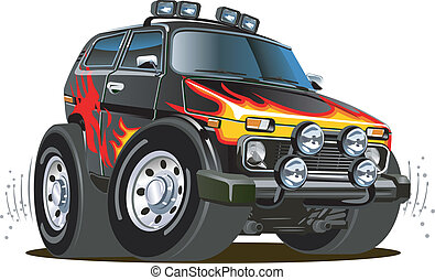 Cartoon jeep isolated on white background. Available EPS-8...