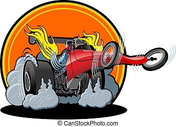 Cartoon dragster on white background Available EPS-8 vector...