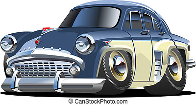 Cartoon retro car isolated on white background. Available...