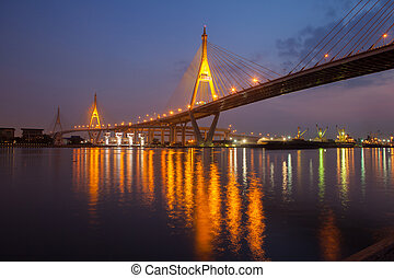 Bridge industry. Bangkok at night.
