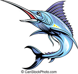 marlin fish - illustrated marlin fish isolated on white...