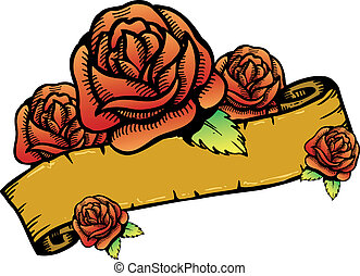 Roses banner vector illustration. All roses are complete and...