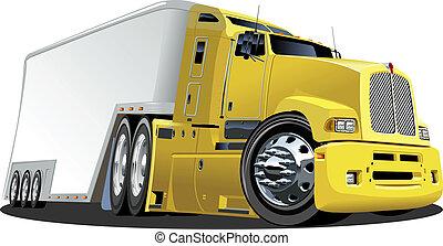 Cartoon truck - Cartoon semi truck isolated on white...