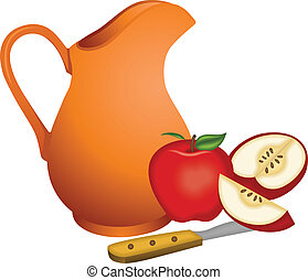 Clay jug with apples - Scalable vectorial image representing...