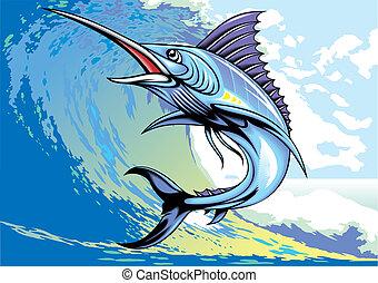 marlin fish - illustrated nice marlin fish as interesting...