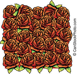 Roses vector illustration background pattern. All roses are...