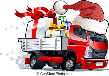 Cartoon christmas truck isolated on white background....