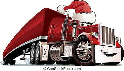 Cartoon christmas truck isolated on white background...