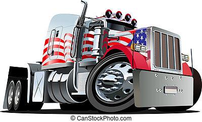 dessin animé, semi, camion