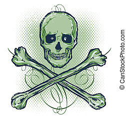 Skull and Crossbones Vector illustration All parts are...