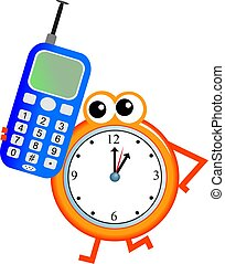 mobile time - Mr clock man chatting on a mobile telephone