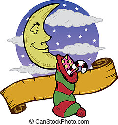 Moon at Christmas with a stocking full of presents...