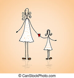 Mothers day illustration - Hand drawn mothers day card with...
