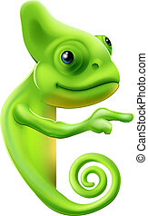Cartoon chameleon pointing - An illustration of a cute...