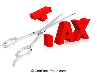 Scissor and tax - Rendered artwork with white background