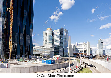 United Nations building and surrounding in Vienna - shot in...