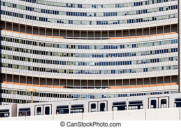 United Nations building close up Vienna - shot in Austria,...