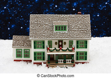 Merry Christmas - House with Christmas decorations on snow...