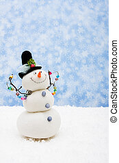 Merry Christmas - Snowman sitting on snow with snowflake...