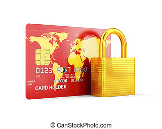 Security card - 3d render of credit card with golden lock