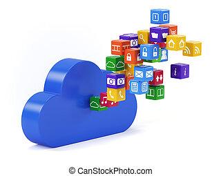 Cloud technology - 3d render of cloud technology media...