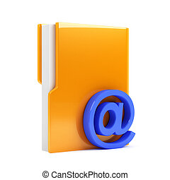 folder with email sign - 3d render of computer folder with...
