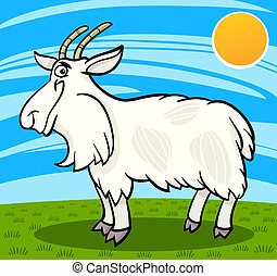 hairy goat farm animal cartoon illustration - Cartoon...