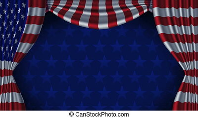 USA Flag Curtain with Alpha - Animation of American flag...
