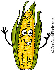 funny corn on the cob cartoon illustration - Cartoon...
