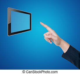 Hand pushing tablet on a touch screen