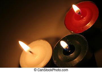 Three Xmas Candles Upclose